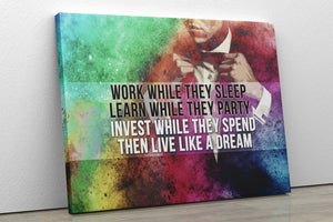 WORK WHILE THEY SLEEP: CanvasMafia Inspirational Canvas Wall Art for Office and Home Decor