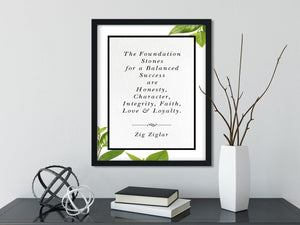 Zig Ziglar | The Foundation Stones - FRAMED Inspirational Wall Art, Framed Inspirational Print Art, Dorm Decor, Office Wall Art
