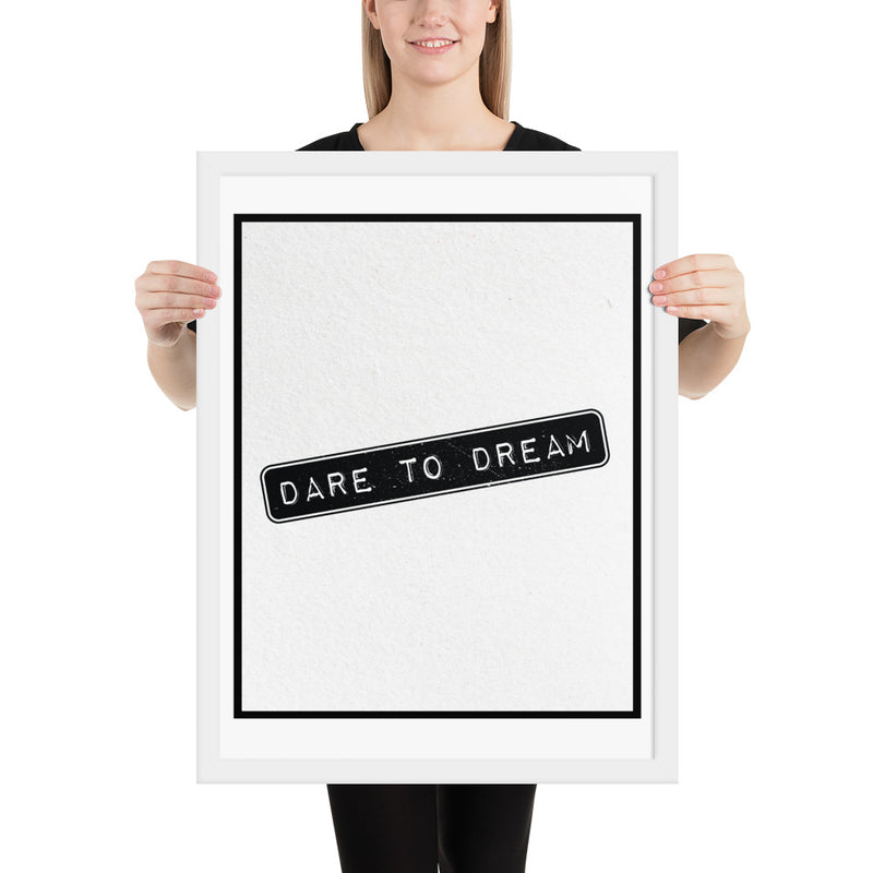 DARE To DREAM 1 - FRAMED Inspirational Wall Art, Framed Inspirational Print Art, Dorm Decor, Office Wall Art, Office Decor