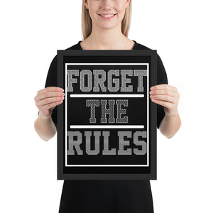FORGET The RULES (Black) - FRAMED Inspirational Wall Art, Framed Inspirational Print Art, Dorm Decor, Office Wall Art, Office Decor