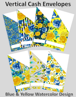 Printable | Blue & Yellow Watercolor Floral Cash Envelopes | with free blank template!
