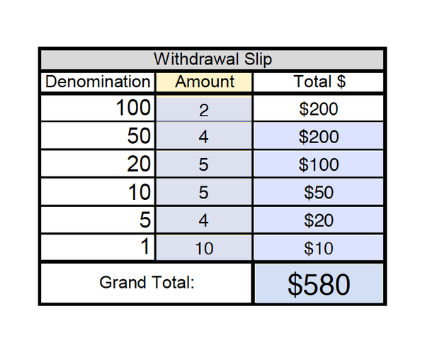 FREE Withdrawal Slip - Fillable PDF *Digital Download*