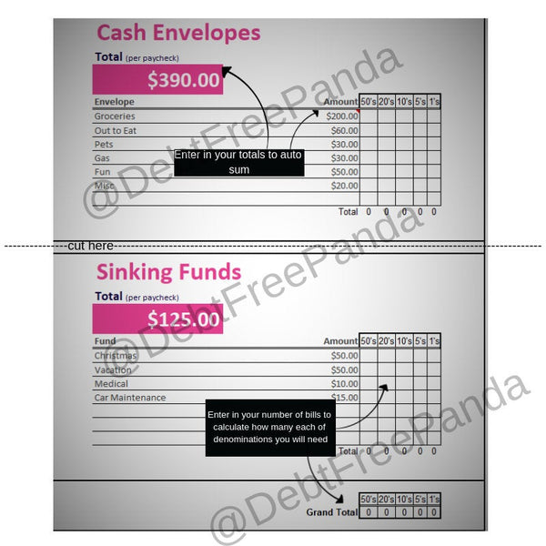 Cash Envelope & Sinking Funds totals Chart - Perfect for taking to the bank! **Digital Download**