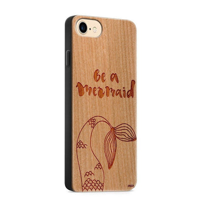 Be A Mermaid Wood Phone Case