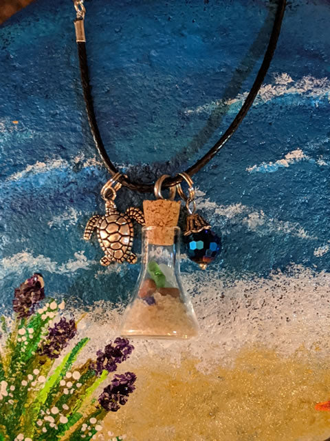 Sea Glass Bottle Necklace With Sea Turtle And Blue Faceted Bead - Beaker