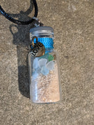 Sea Glass Bottle Necklace Love - Jar