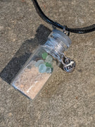 Sea Glass Bottle Necklace With Double Heart - Jar