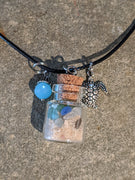 Sea Glass Bottle Necklace With Sea Turtle And Baby Blue Bead - Jug