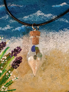Sea Glass Bottle Necklace - Teardrop