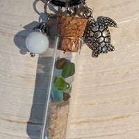 Sea Glass Bottle Necklace With Sea Turtle And Pearl Bead - Vial