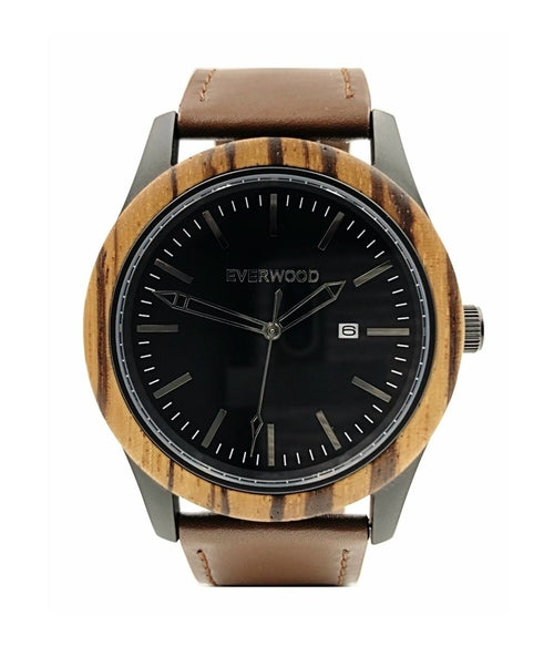 Inverness | Zebrawood | Brown Leather Watch