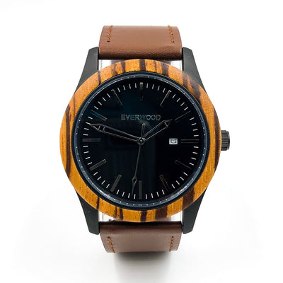 Beachside - Zebrawood Watch (Brown Leather)