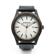 The Boardwalk - Walnut Watch (Black Leather)