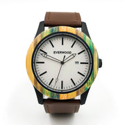 Beach Sunset - Bamboo Watch (Brown Leather)