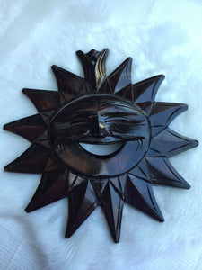 "Lot 1 Brand New 11"" Large Wooden Sun Face Hand carved Made from Benquet, Philippines"