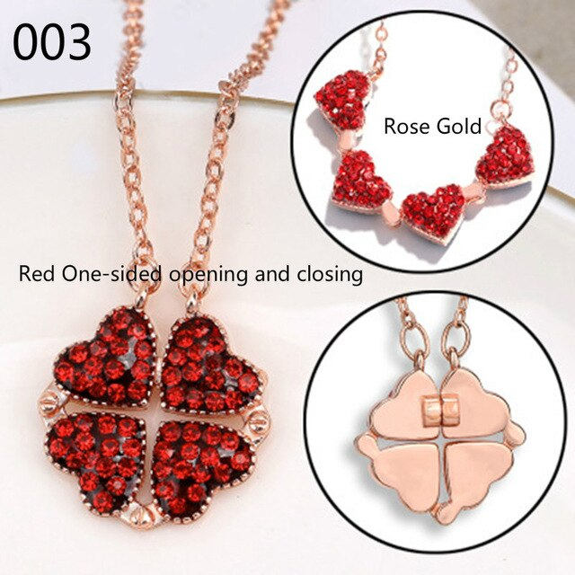 New  Folding Four Clover Pendant Heart Flower Necklace for Women Birthday Anniversary Gift Jewelry