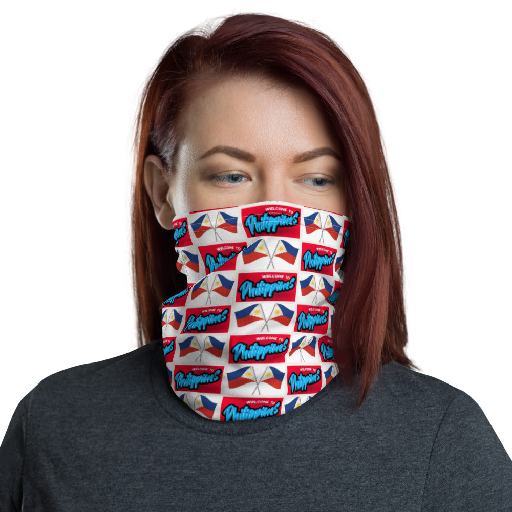 """ WELCOME TO PHILIPPINES "" PRINT DESIGN FACE MASK Neck Gaiter"