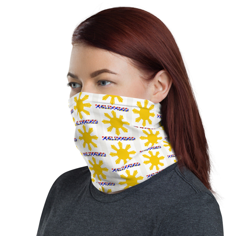 """ PHILIPPINES "" PRINT WITH YELLOW SUN DESIGN FACE MASK Neck Gaiter"