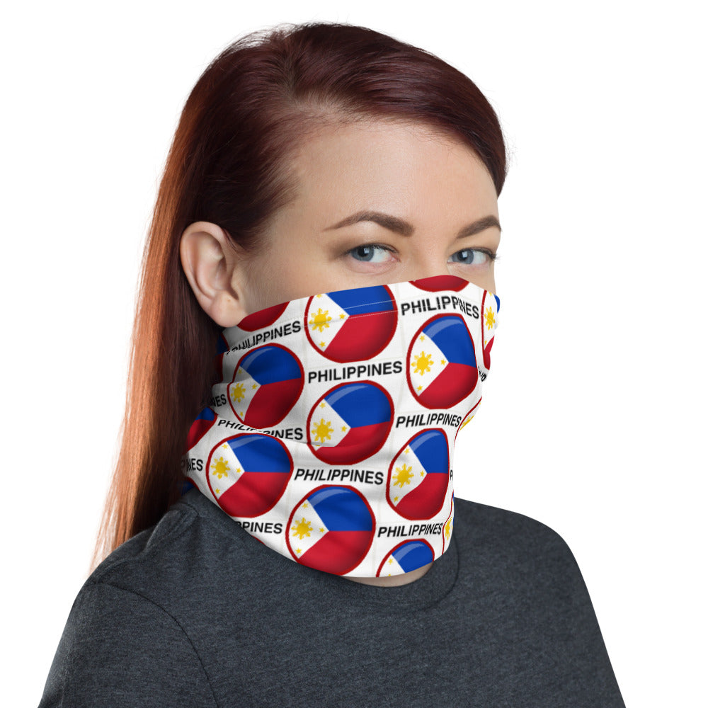 PHILIPPINE FLAG IN A ROUND SHAPED DESIGN FACE MASK Neck Gaiter
