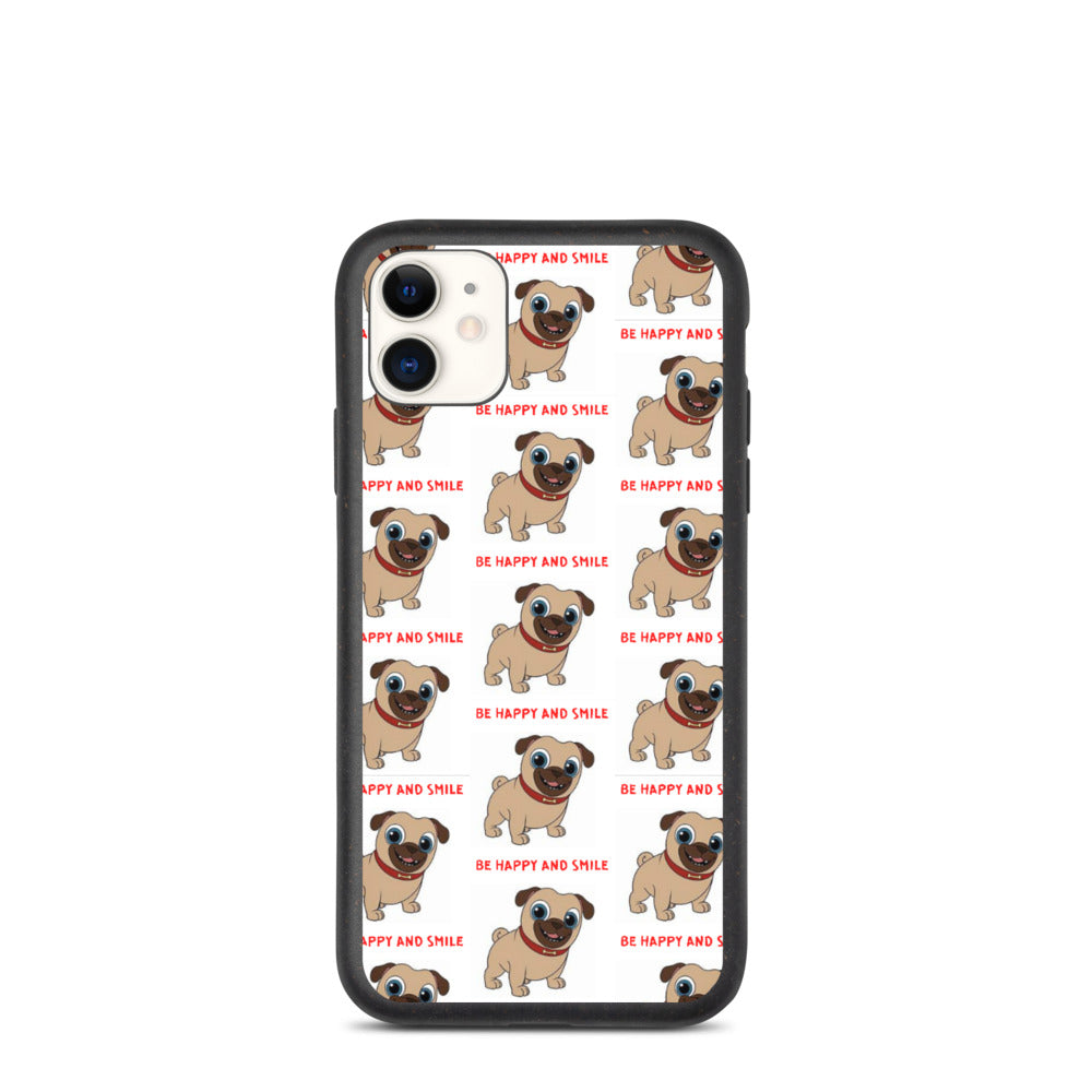 """ BE HAPPY AND SMILE "" CUTE DOG DESIGN Biodegradable phone case"
