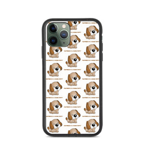 """ HAPPINESS IS A WARM PUPPY "" DOG DESIGN Biodegradable phone case"