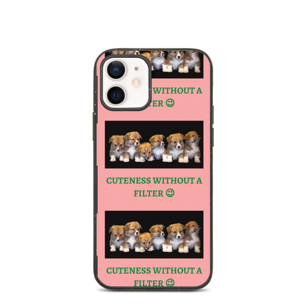 """ CUTENESS WITHOUT A FILTER "" DOG DESIGN Biodegradable phone case"