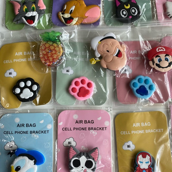 NEW 3D Pop Sockets Phone Holder Cartoon Characters Superhero Pineapple Cats Dog Hello Kitty
