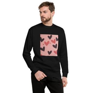Red and Black Hearts Design Unisex Fleece Pullover