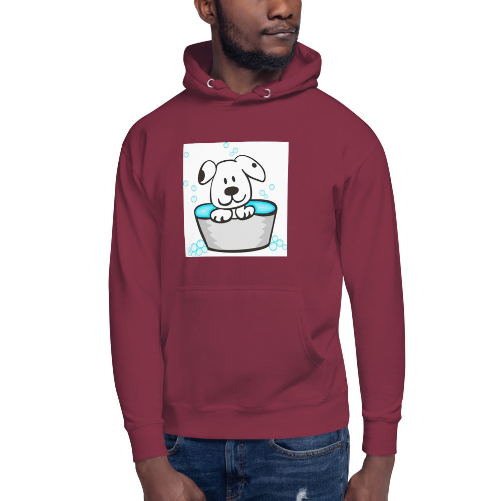 Cute Dog in a Tub Design Unisex Hoodie