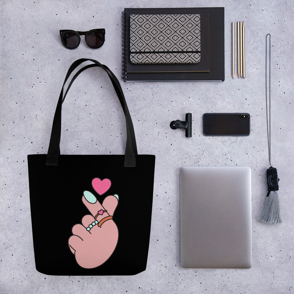 "SARANGHAE MEANS ""ILOVE YOU"" IN KOREAN Tote bag"