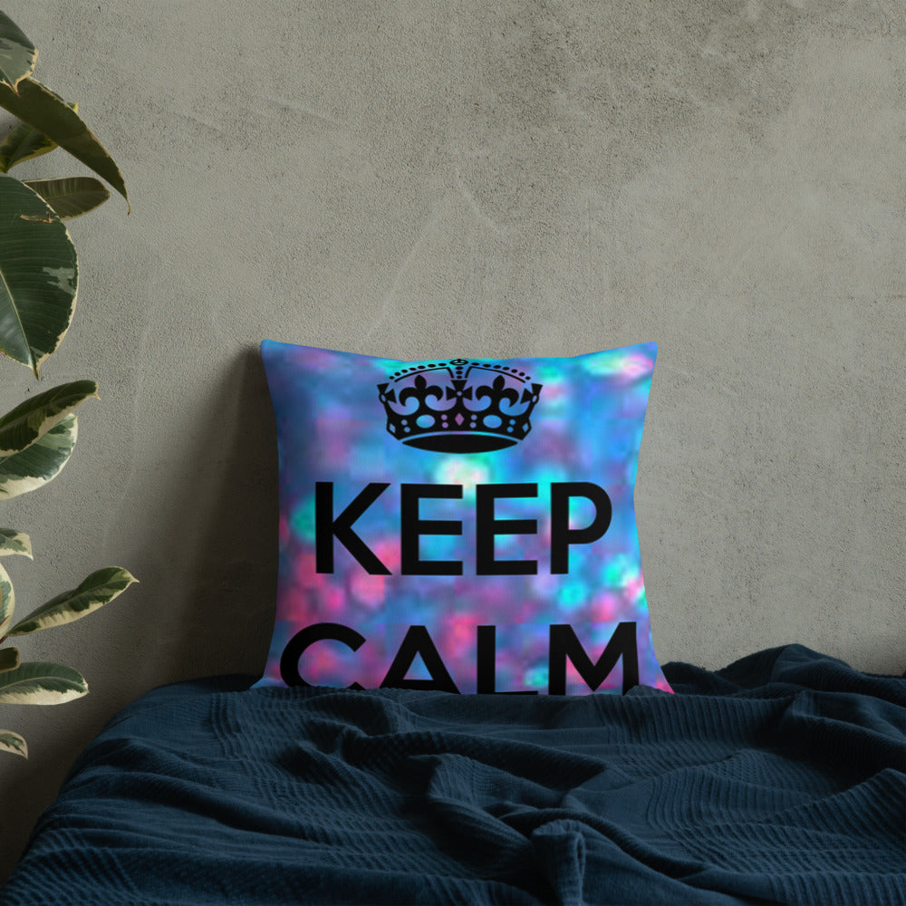 """ Keep Calm"" Print Design Premium Pillow"