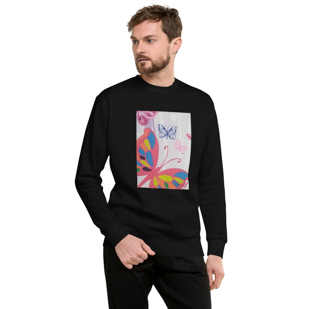 Butterflies Design Unisex Fleece Pullover