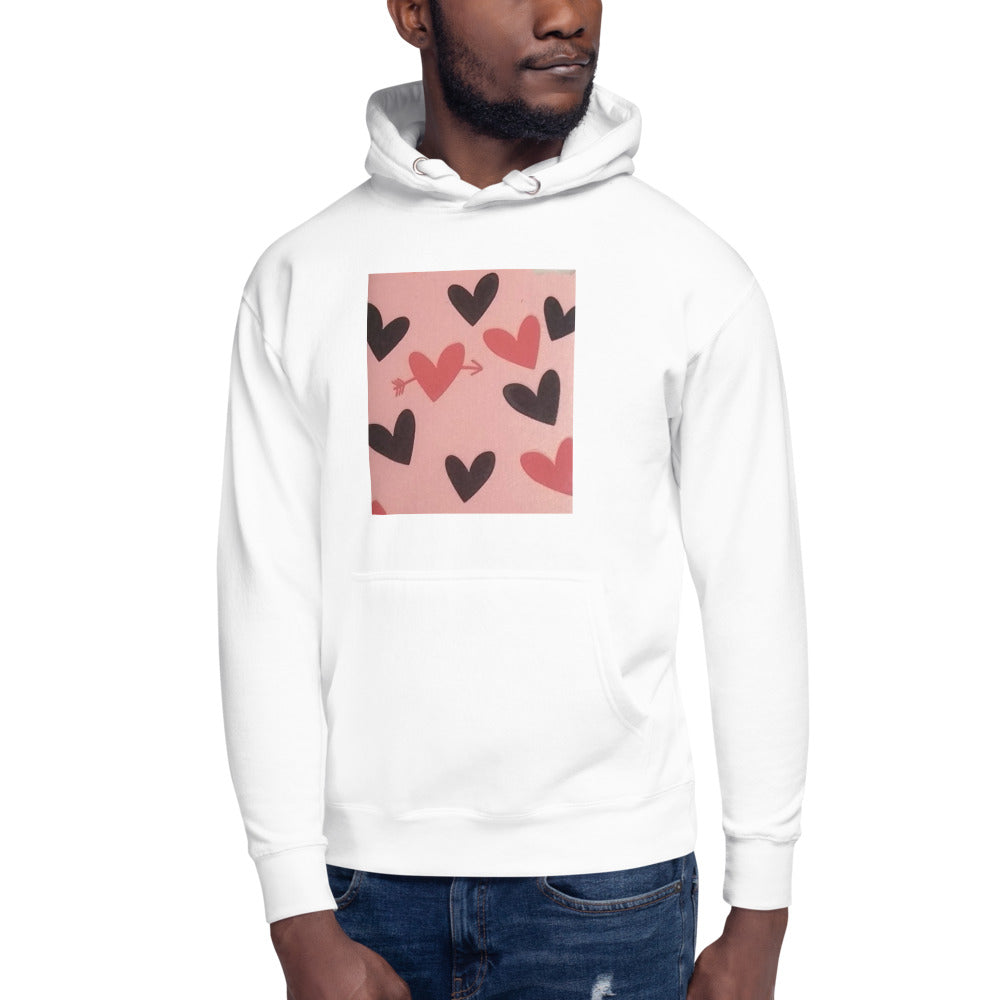 Red and Black Hearts Design Unisex Hoodie