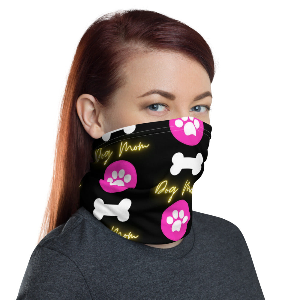 Dog Mom with Paw and Bone Design Face Mask Neck Gaiter