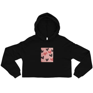 BLACK AND RED HEARTS DESIGN Crop Hoodie