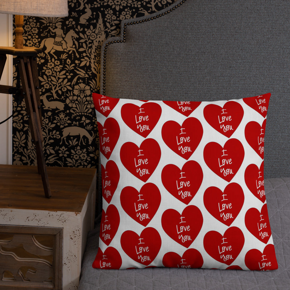 """ I Love You "" print with Heart Design Premium Pillow"