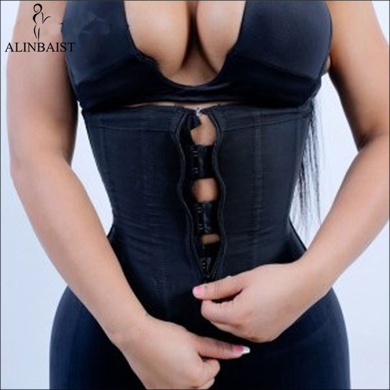 Women Latex Waist Trainer Body Shaper Corsets with Zipper Cincher Corset Top Slimming Belt Black