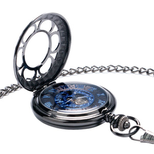 Mechanical Watches Black Stainless Steel Pocket Watch Hollow Flower Hand Winding Pendant Chian for Men Women Valentine's Gifts