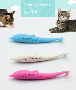 Cat Fish toy Funny Stuffed Mint Catnip Chew toy plush puppy dog cat toothbursh Pet Toy Clean Teeth Interactive toy pet supplies