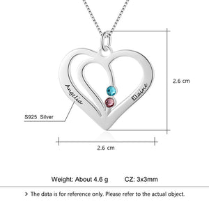 Personalized Name Heart Necklace Pendants Gifts Custom Made Birthstone 925 Sterling Silver Friendship