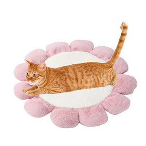 50% OFF Fleece Soft Flower Pet Dog Cat Cushion Round Pet Beds  All Seasons Sleeping Mats For Dogs Puppy
