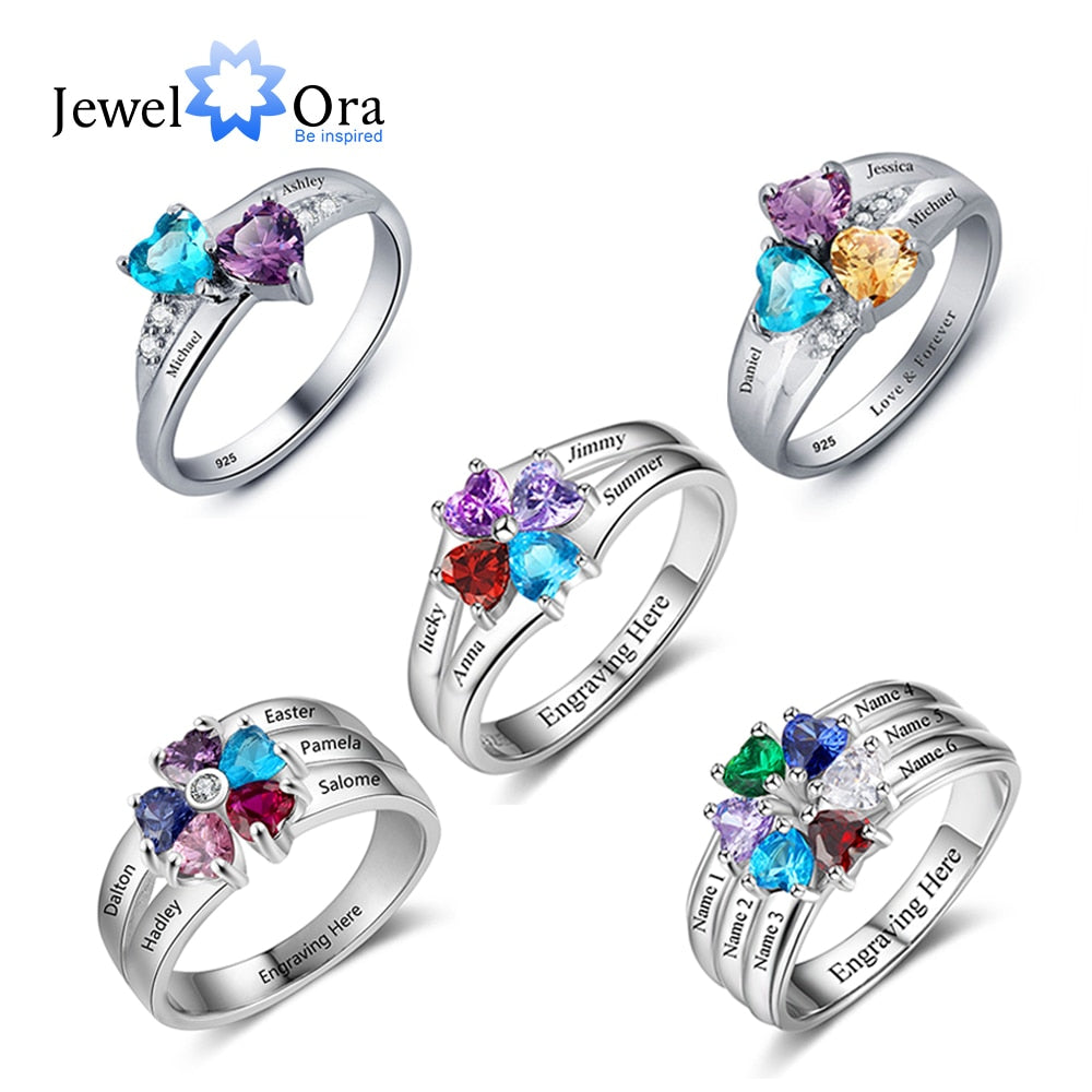 925 Sterling Silver Personalized MOM Mothers Ring with Birthstones Custom Made Engraved Engagement Silver Rings for Women