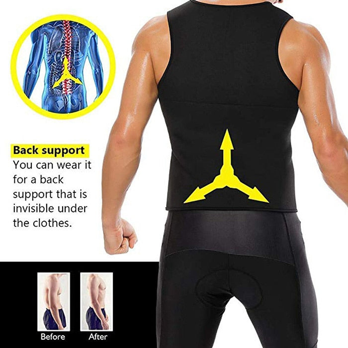 Men's Sweat Vest Body Shaper Shirt Thermo Slimming Sauna Suit Weight Loss Black Shapewear Neoprene Waist Trainer
