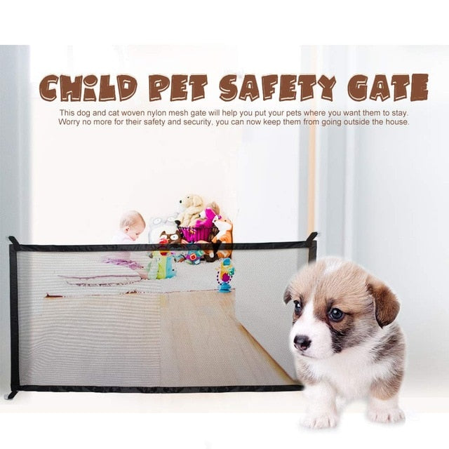 50% OFF Pet Dog Gate Ingenious Mesh Magic Pet Gate For Dogs Safe Guard and Install Pet Dog Safety Enclosure Dog Fences