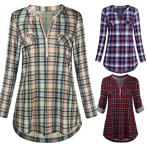 Womens Casual Rolled Sleeve Zipped V-Neck Plaid Printed Shirt Tunic Tops Blouse Harajuku Plaid Print Button Shirts Feminina