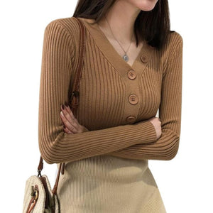 Fall Sweaters Women Casual V-Neck Korean Style Knitted Sweaters Winter Cropped Long Sleeve Single Breasted Slim Fit Jumper