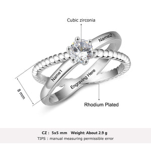 Personalized Custom Name Rings for Women X shape Crossed Engrave Wedding Engagement Ring with Zircon Jewelry