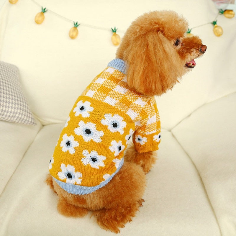 Dog Cutie Red And Yellow Plaid Sweater Autumn Winter Small Dogs Warm Clothes Red And White Plaid Sweater With Flower For Cats