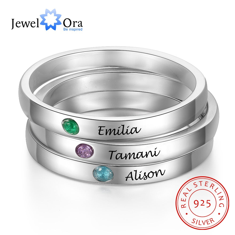 JewelOra Personalized Stackable Name Ring with Birthstone 925 Sterling Silver Customized Engraved Rings for Women Fine Jewelry
