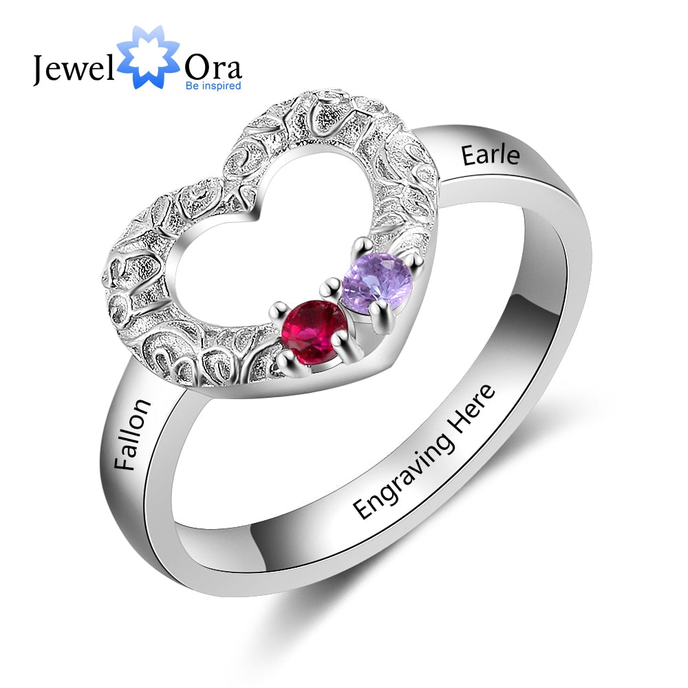 Customized Heart Ring with 2 birthstones 925 Sterling Silver Personalized Name Promise Ring Anniversary Gift (JewelOra RI103825)